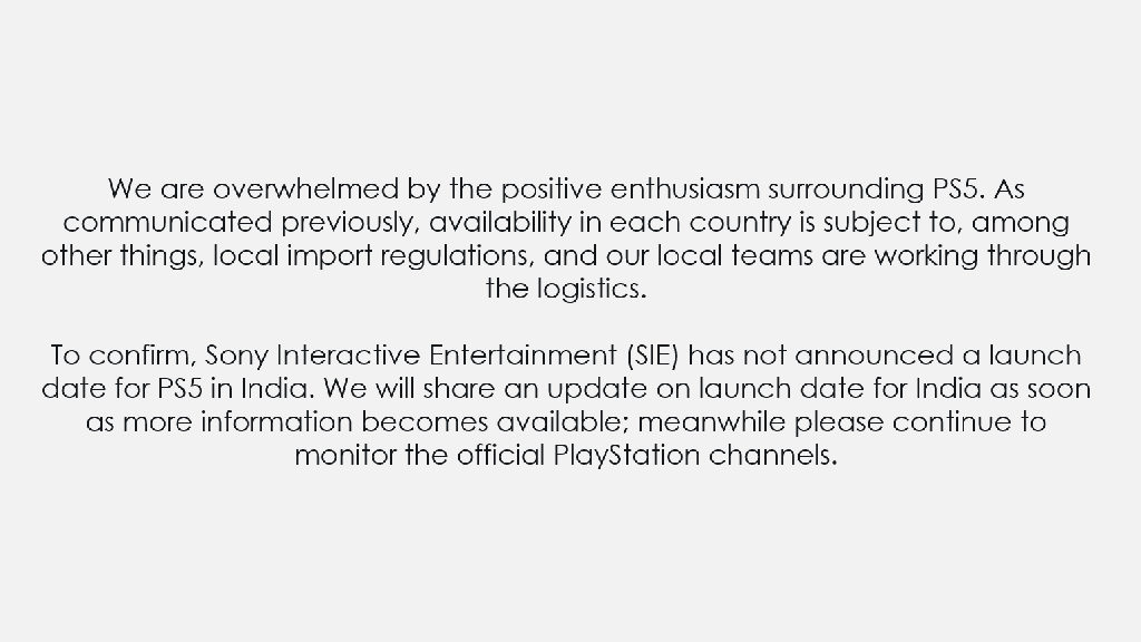 PS5 India launch statement
